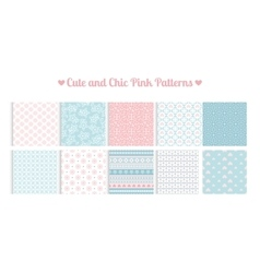 Cute and chic pink patterns vector