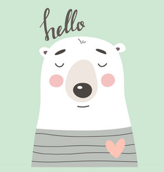 cute card with bear vector image