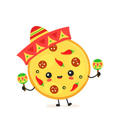 Cute happy mexican pizza character vector