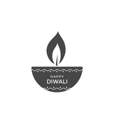 diwali oil lamp or candle icon design vector image