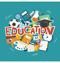 education elements background flat design vector image