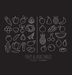 Flat Fruits Vegetables Icons Black vector image