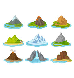 Flat set of islands with mountains vector