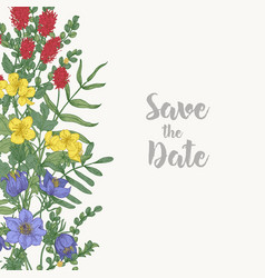 floral square save the date card template vector image