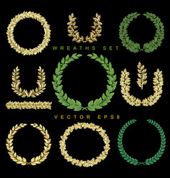 gold and green wreaths set vector image