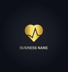 Gold heart beat gold logo vector