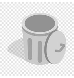 gray trash can with open lid isometric icon vector image