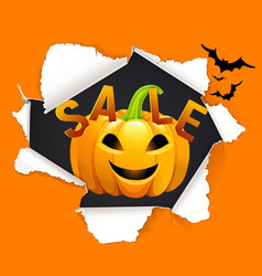 halloween sale design with pumpkin vector image
