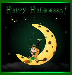 happy halloween greeting card with cute little vector image