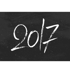 Happy New Year 2017 greetings on black chalkboard vector image