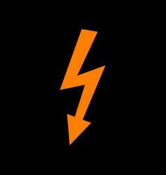 high voltage danger sign orange icon on black vector image