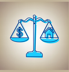 House and dollar symbol on scales sky vector