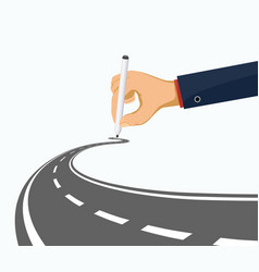 human hand draws a winding road vector image