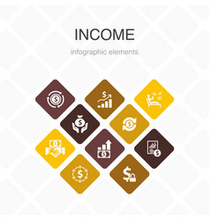Income infographic 10 option color designsave vector