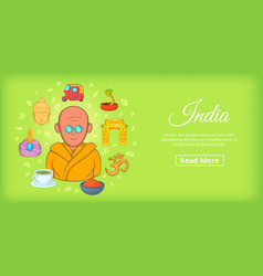India travel horizontal banner cartoon style vector