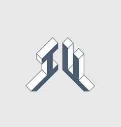 Iu - logo or 2-letter code isometric 3d font vector