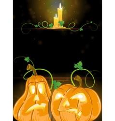 Jack o lanterns and burning candles vector
