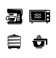 Kitchen accessories simple related icons vector