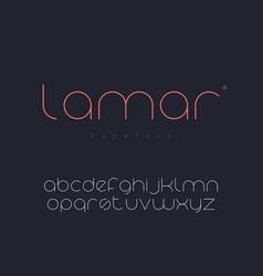 Latin lowercase alphabet thin line font vector