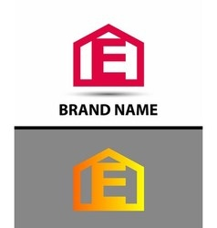 Letter e logo with home icon vector image