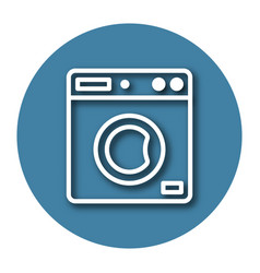 Line icon of clothes washer with shadow eps 10 vector