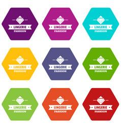 Lingerie beauty icons set 9 vector