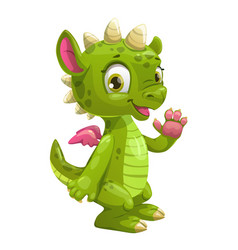 Little cute cartoon green dragon vector