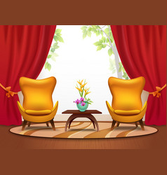 Living room cartoon interior vector