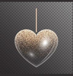 Luminous heart with sparkles vector