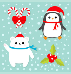 merry christmas icon set candy cane stick with vector image