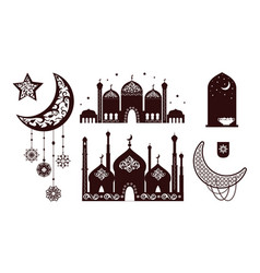 muslim concepts silhouettes vector image