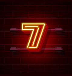 Neon city font number 7 vector