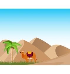 Oasis in desert vector