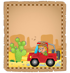 Parchment with car and traveller 4 vector