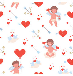Pattern with little cupid boy hearts vector