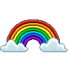 pixel rainbow with clouds isolated vector image