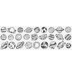 planets in universe doodle set vector image