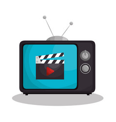 Retro tv with clapper isolated icon vector
