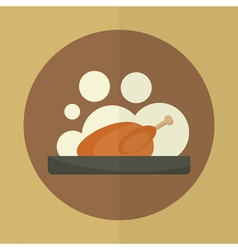 Roasted chicken icon vector
