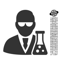 Scientist with flask icon with professional bonus vector
