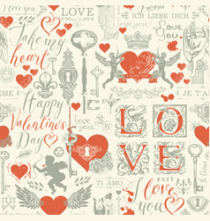 seamless pattern on theme valentines day vector image