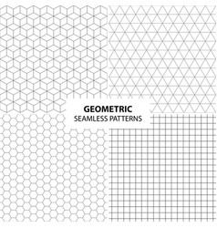 Set of simple geometric patterns - seamless vector