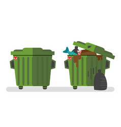 Set of two waste containers empty and full of vector