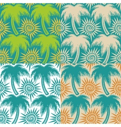 set seamless patterns with palm trees and sun vector image