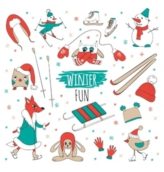 set winter fun vector image