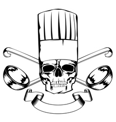 skull in toque and crossed ladles vector image