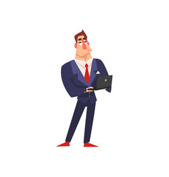smiling businessman working with laptop vector image
