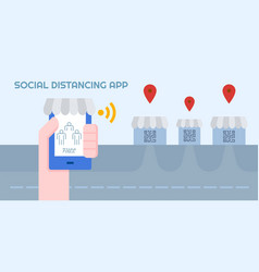 social distancing application online check before vector image