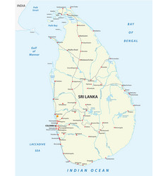 Sri lanka railway map vector