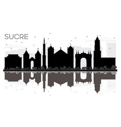 sucre bolivia city skyline black and white vector image